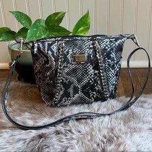 Nicole Miller Snakeskin Crossbody Silver Chain Bag